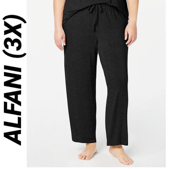 Alfani Plus Size Ribbed Knit Lounge Drawstring Pajama Pants